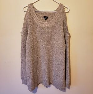 Torid Cold Open Shoulder Tan Sweater Size 3